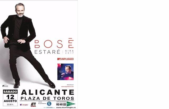 Cartel anunciador de Miguel Bosé en la plaza de Toros de Alicante