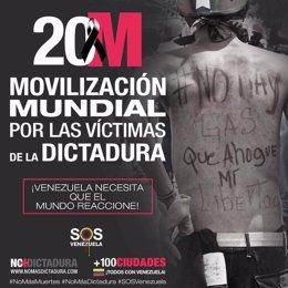 Cartel de la protesta de los opositores venezolanos del 20M