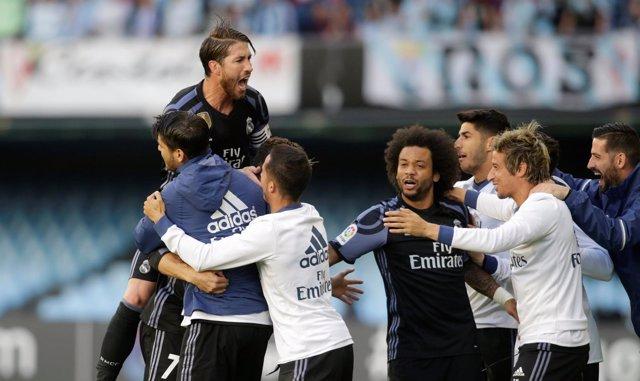 Celebración del Real Madrid en Balaídos