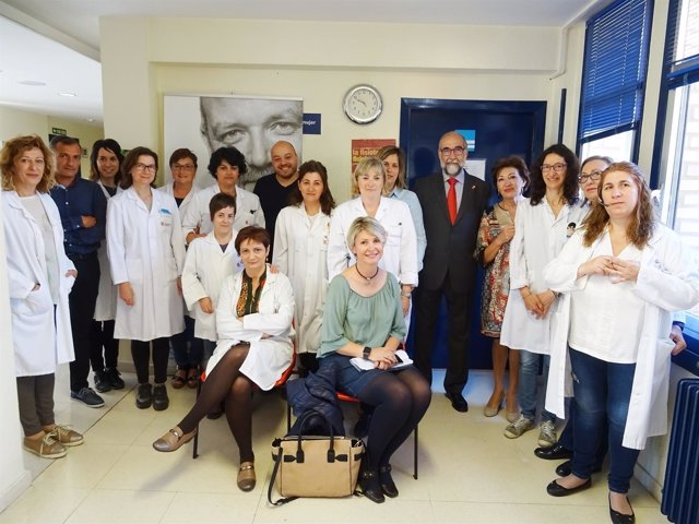 Domínguez en el centro de salud de Lodosa