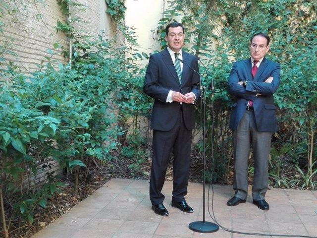 Juanma Moreno, hoy junto al presidente de la CEA