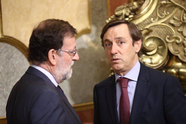 Rajoy y Rafael Hernando en la sesión de control al Gobierno en el Congreso