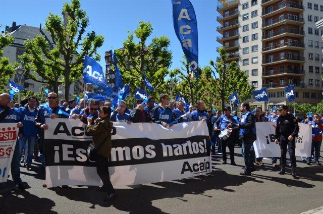 León: Concentración De Funcionarios De Prisiones