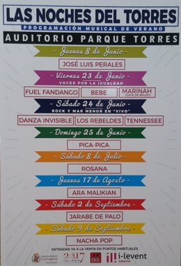 Cartel de los conciertos de Las Noches del Torres