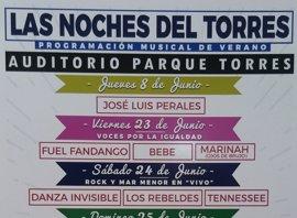 Cartel de lujo para las noches de verano en el Parque Torres con Perales, Fandango, Bebe o Jarabe de Palo