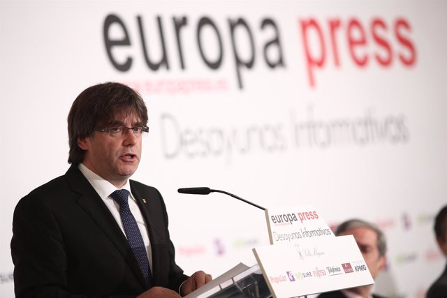 Carles Puigdemont en el desayuno informativo de Europa Press