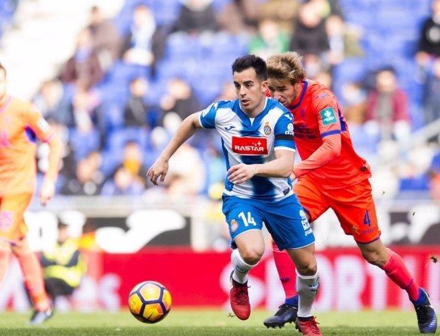 Jurado, del Espanyol, en un partido ante el Granada