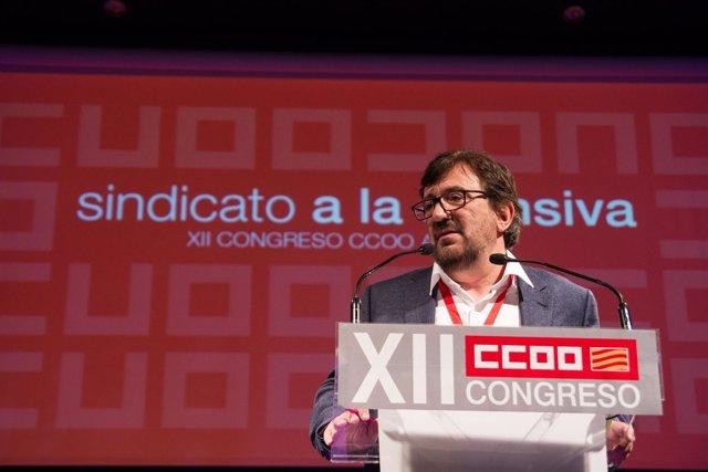 Julián Buey en el XII Congreso de CCOO.