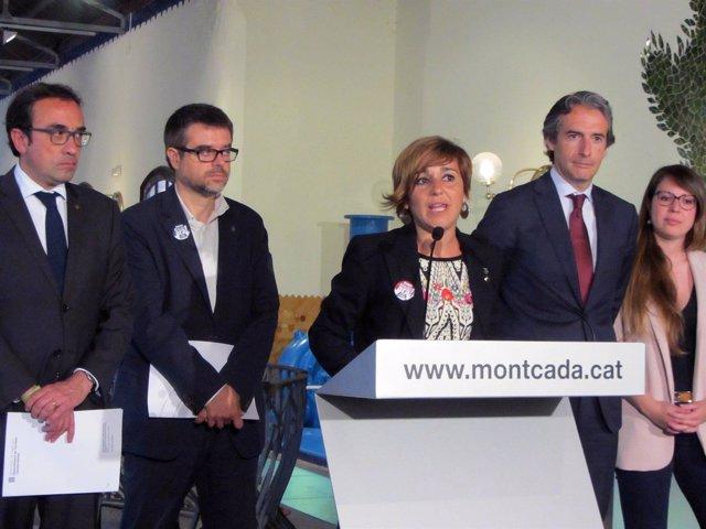 La alcaldesa de Montcada i Reixac, Laura Campos, anunciando el soterramiento
