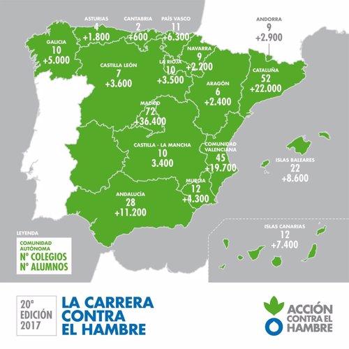La carrera contra el hambre mapa españa provincias