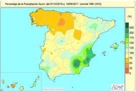 La falta de lluvias acumulada desde octubre sigue en el 12% por debajo del nivel normal tras las últimas precipitaciones