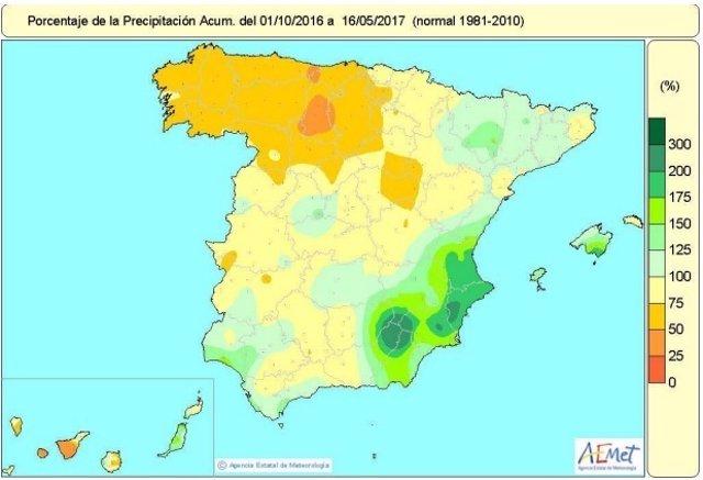Distribución de las lluvias hasta el 16 de mayo de 2017