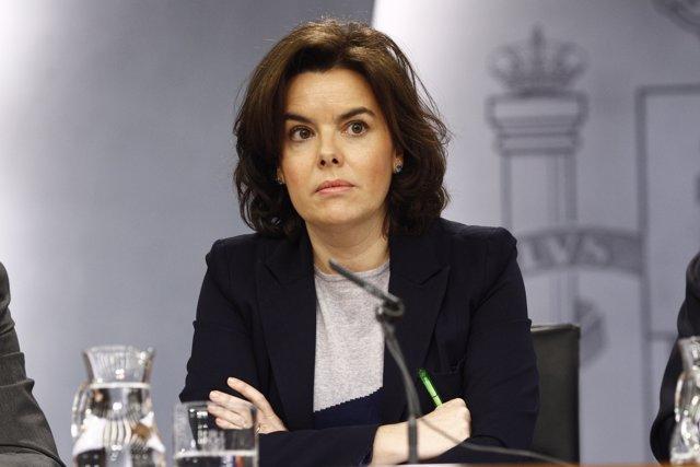 Soraya Sáenz de Santamaría en la roda de premsa després del Consell de Ministres