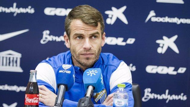 Duda, jugador del Málaga, en rueda de prensa