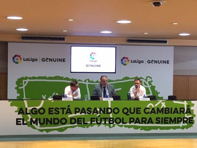 Javier Tebas en la presentación de LaLiga Genuine