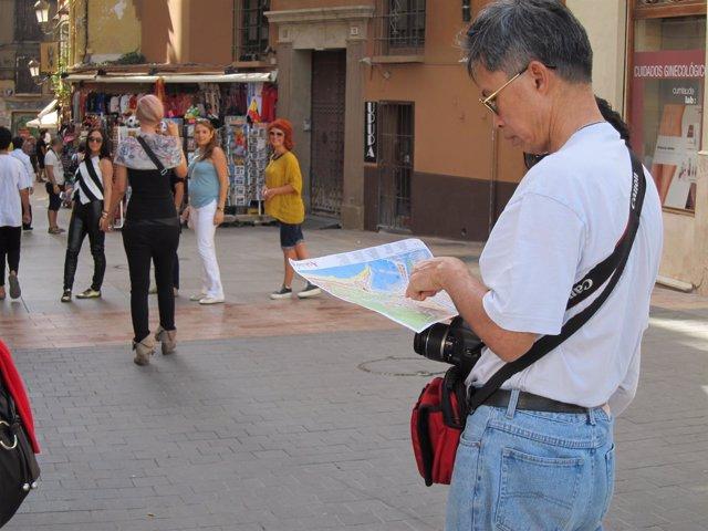 Turismo, Turista, chinos, asiáticos, mapa, chino, asiático,