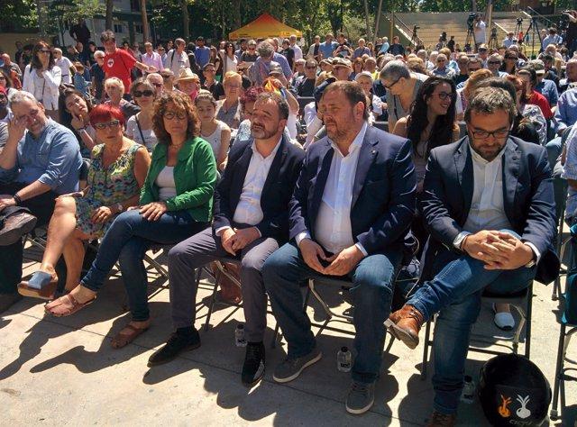 Trini Capdevila, Montse Benedí, Alfred Bosch, Oriol Junqueras y Juli Fernández