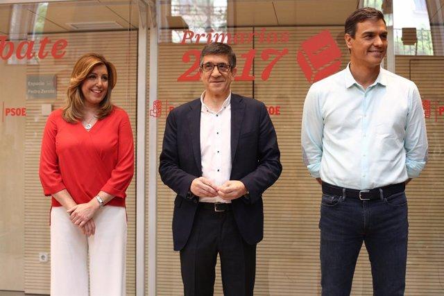 Pedro Sánchez, Susana Díaz y Patxi López antes del incio del debate del PSOE