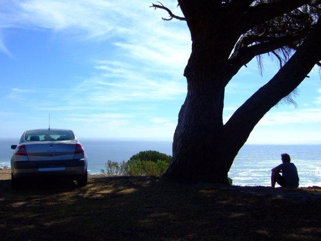 Vehículo, viaje, playa, paisaje, alquiler