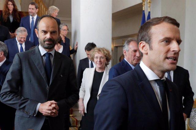 Emmanuel Macron y el primer ministro, Edouard Philippe