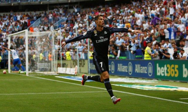 Cristiano celebra el 0-1 ante el Málaga