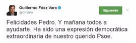 """Vara felicita a Pedro Sánchez por su victoria en las primarias del PSOE: """"Mañana todos a ayudarte"""""""