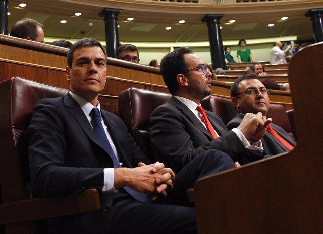 Pedro Sánchez y Antonio Hernando, del PSOE