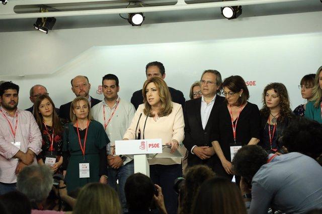 Susana Díaz comparece en Ferraz tras su derrota en las primarias