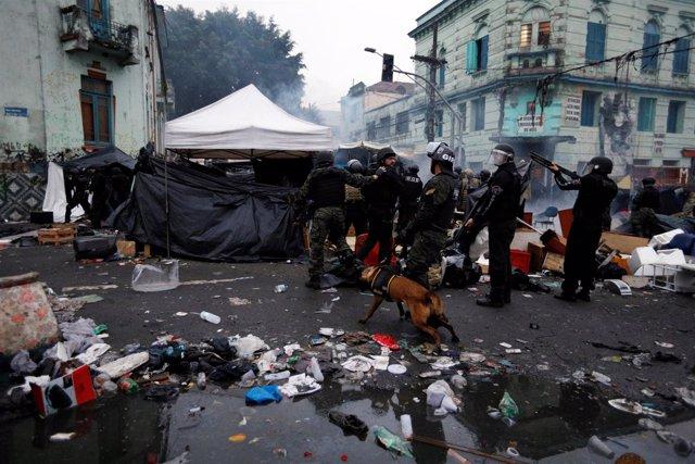 Macrooperación de la Policía de Brasil en 'Cracolandia', en Sao Paulo
