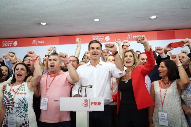 Intervención de Pedro Sánchez tras ganar las primarias
