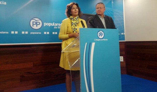 La diputada del PP, Pilar Borrego, durante la rueda de prensa