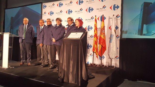 José Llorca, Sixte Cambra, Pascal Clouzard, Carles Puigdemont y Josep Rull