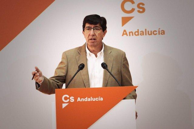 El líder andaluz de Ciudadanos, Juan Marín, en rueda de prensa