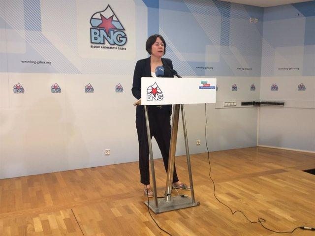La portavoz nacional del BNG, Ana Pontón, en la rueda de prensa