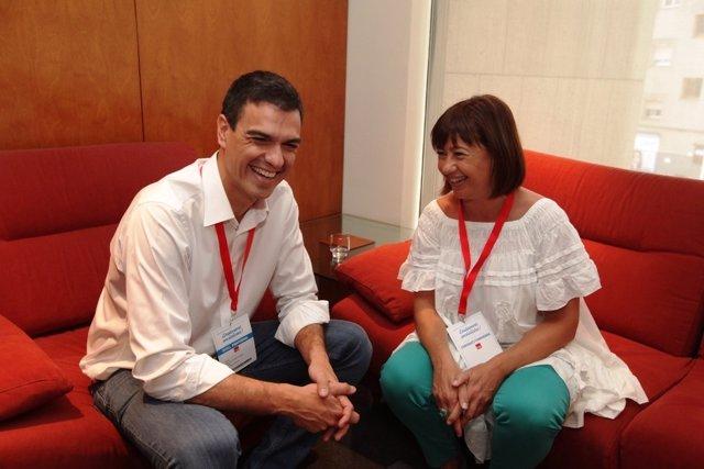 Francina Armengol con Pedro Sánchez
