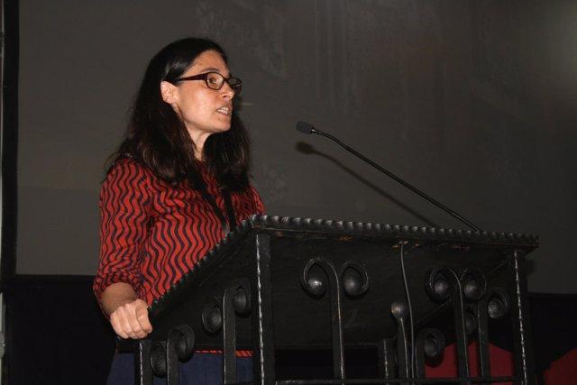 Claire Barber, en una ponencia en la UAO CEU