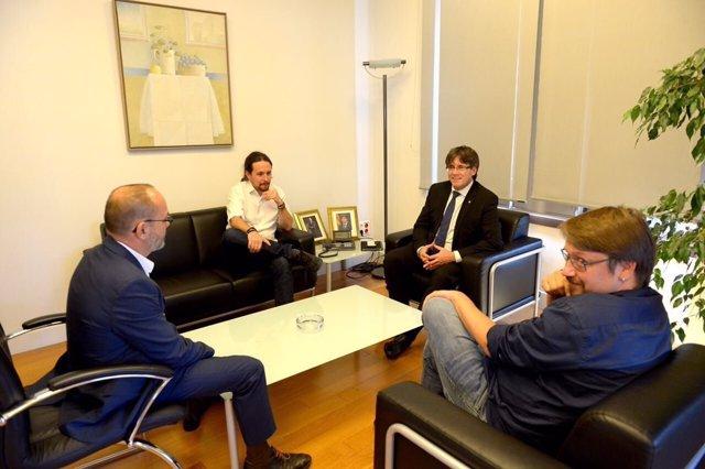 Reunión de C. Puigdemont, P. Iglesias, C. Campuzano y X. Domènech