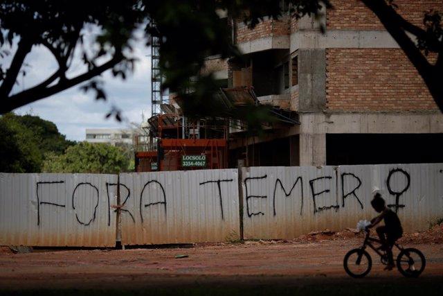 Pintada contra Temer en Brasilia