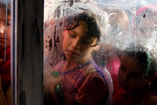 Niñas y niños desplazados en Bagdad