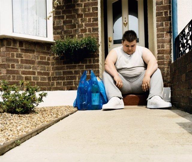 Depresión, hombre, obesidad, casa, puerta