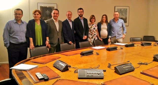Diputados valencianos de Compromís, PSOE y Podemos
