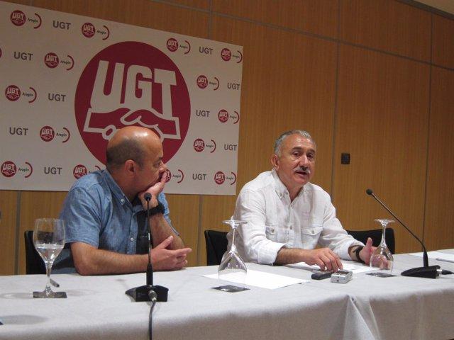 Daniel Alastuey y Pepe Álvarez (UGT), este martes en Zaragoza