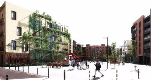 Uno de los proyectos del concurso de una medianera de Gràcia