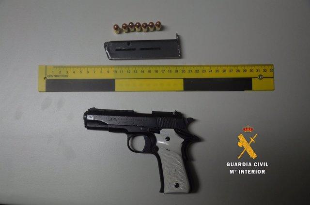 Arma utilizada en el tirotero en Villamayor (Salamanca)
