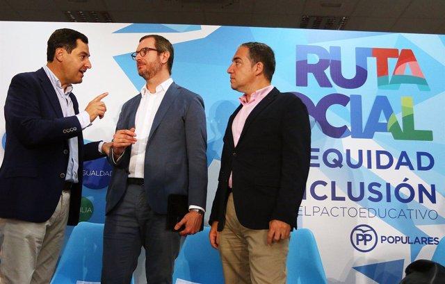 Juanma Moreno, Javier Maroto y Elías Bendodo