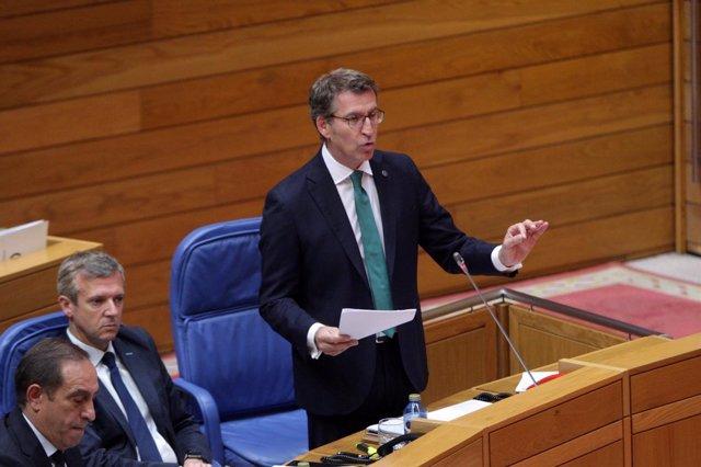 Alberto Núñez Feijóo en el pleno del Parlamento de Galicia