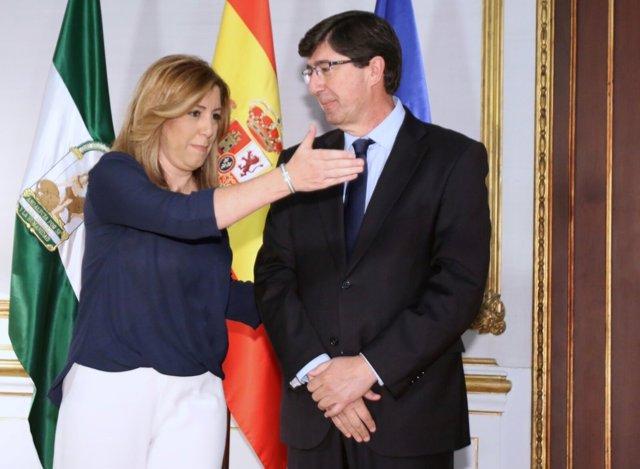 Susana Díaz y Juan Marín (Cs) antes de su reunión en San Telmo