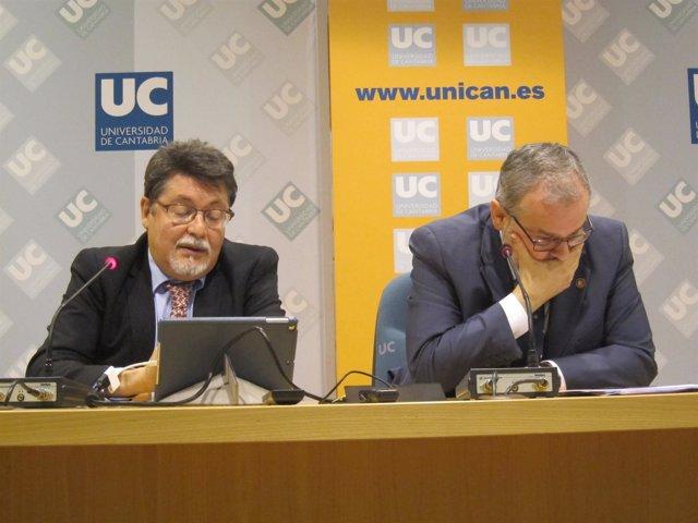 Javier León y Ángel Pazos, vicerrector Investigación y rector de la UC