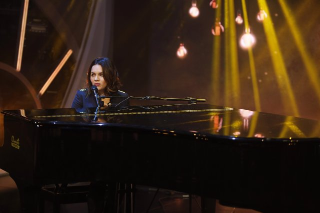 "The singer Norah Jones during spanish TV program ""El Hormiguero"". Spain, Madrid"