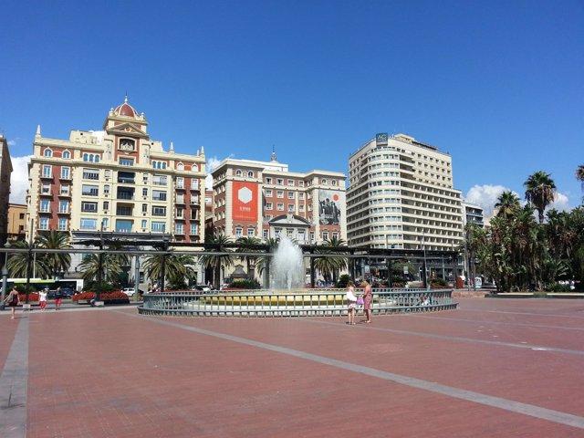 Plaza de la Marina, Unicaja, Hotel, Málaga, centro, turismo, fuente